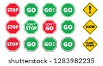 stop and go signs and slow down ... | Shutterstock .eps vector #1283982235