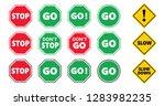 caution school kids  stop and...   Shutterstock .eps vector #1283982235