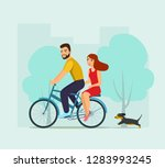 young man and woman riding on... | Shutterstock .eps vector #1283993245