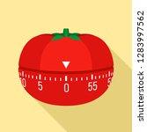 tomato kitchen timer icon. flat ... | Shutterstock .eps vector #1283997562