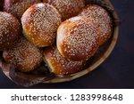 homemade hamburger buns   Shutterstock . vector #1283998648