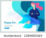 set of landing page templates... | Shutterstock .eps vector #1284002365
