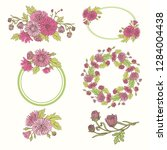 vector set with chrysanthemums  ... | Shutterstock .eps vector #1284004438