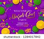 mardi gras party poster. shrove ... | Shutterstock .eps vector #1284017842