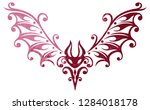 cute tribal tattoo bat  small... | Shutterstock . vector #1284018178