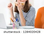 midsection of businesswoman...   Shutterstock . vector #1284020428