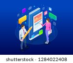 isometric freelancing  creative ... | Shutterstock .eps vector #1284022408
