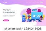 eco friendly elecrtic truck...   Shutterstock .eps vector #1284046408