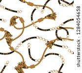 seamless rope golden chain | Shutterstock .eps vector #1284054658