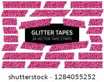 pink glitter tape strips with... | Shutterstock .eps vector #1284055252