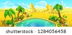 oasis with a lake and palm... | Shutterstock .eps vector #1284056458