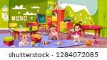 vector cartoon kindergarten  ...   Shutterstock .eps vector #1284072085
