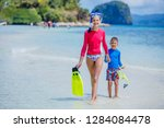 cute happy girl and boy with...   Shutterstock . vector #1284084478