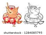 illustration of a cute cat.... | Shutterstock . vector #1284085795