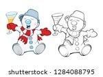 illustration of a cute snowman ... | Shutterstock . vector #1284088795