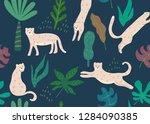 jungle seamless pattern. animal ... | Shutterstock .eps vector #1284090385