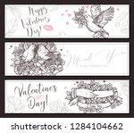 valentine day horizontal hand...   Shutterstock .eps vector #1284104662