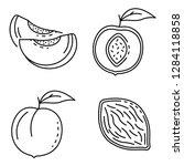 Peach Icons Set. Outline Set O...