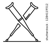 crutches icon. outline crutches ... | Shutterstock .eps vector #1284119512