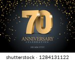 anniversary 70. gold 3d numbers.... | Shutterstock .eps vector #1284131122