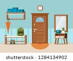 cozy home entrance hall... | Shutterstock .eps vector #1284134902