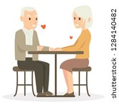 a old man and his wife dinner...   Shutterstock .eps vector #1284140482