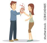 a boyfriend give a gift for his ...   Shutterstock .eps vector #1284140485