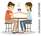 a couple dinner on valentine's...   Shutterstock .eps vector #1284140488