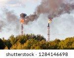 smoking industrial chimneys ... | Shutterstock . vector #1284146698