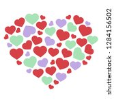 composition with color hearts | Shutterstock .eps vector #1284156502