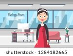 businesswoman in business room. ... | Shutterstock .eps vector #1284182665