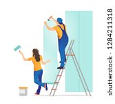 home repair. man and woman...   Shutterstock .eps vector #1284211318