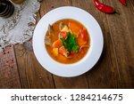 shurpa asian soup | Shutterstock . vector #1284214675