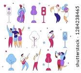 modern cartoon flat characters...   Shutterstock .eps vector #1284238465