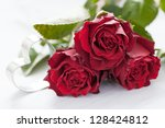 roses and heart for valentines day - stock photo