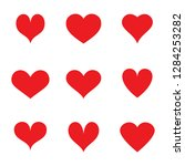 heart icons set isolated on... | Shutterstock .eps vector #1284253282