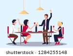 people drinking red wine and... | Shutterstock . vector #1284255148