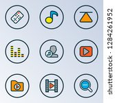 multimedia icons colored line... | Shutterstock .eps vector #1284261952