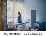 waiting patient. a woman... | Shutterstock . vector #1284262312