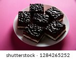chocolate cheese cake with...   Shutterstock . vector #1284265252