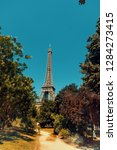 path to eiffel tower in paris ... | Shutterstock . vector #1284273415