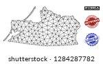 black mesh vector map of... | Shutterstock .eps vector #1284287782