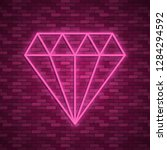 diamond icon in neon style. one ...