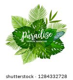 tropical palm leaves poster.... | Shutterstock .eps vector #1284332728