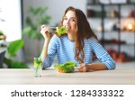 healthy eating. happy young... | Shutterstock . vector #1284333322