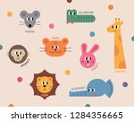 the faces of cute animals in... | Shutterstock .eps vector #1284356665