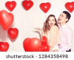Stock photo man with his lovely sweetheart girl dance and have fun at lover s valentine day valentine couple 1284358498