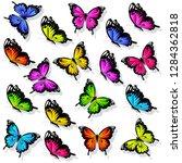 beautiful color butterflies set ... | Shutterstock .eps vector #1284362818