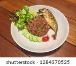 Stock photo thai style fried rice shrimp paste sauce fried rice with fried mackerel fish khao pad nam prik 1284370525