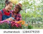portrait of smiling senior... | Shutterstock . vector #1284379255